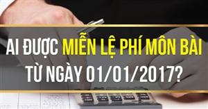 Các trường hợp không phải nộp thuế môn bài từ 01/01/2017