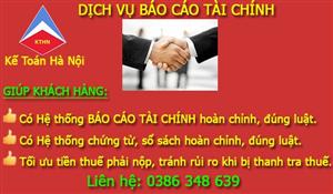 Giá dịch vụ báo cáo tài chính - Kế Toán Hà Nội